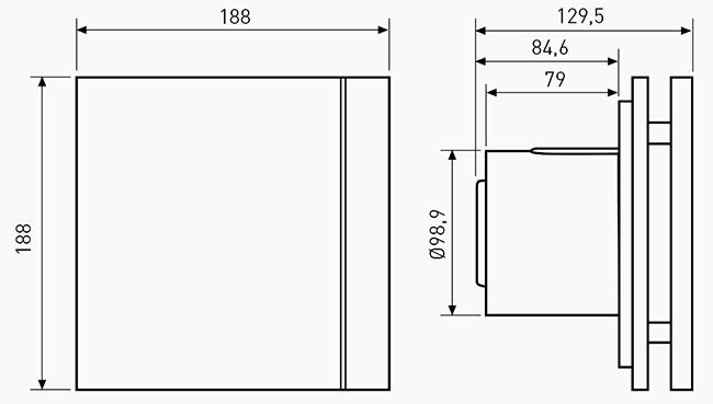 Габаритный чертёж вентилятора Soler&Palau Silent-100 CRZ Design Barcelona