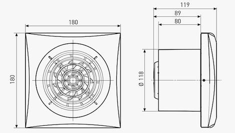 Розмірне креслення вентилятора Soler&Palau Silent-200 CZ Design 3C