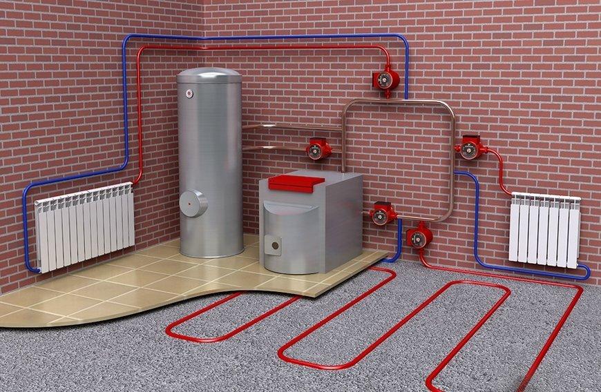 Пример системы отопления с радиаторами и водяным тёплым потом
