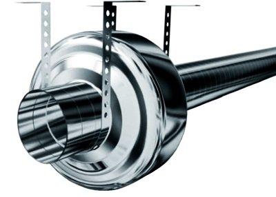 Канальный вентилятор соединённый с круглым воздуховодом