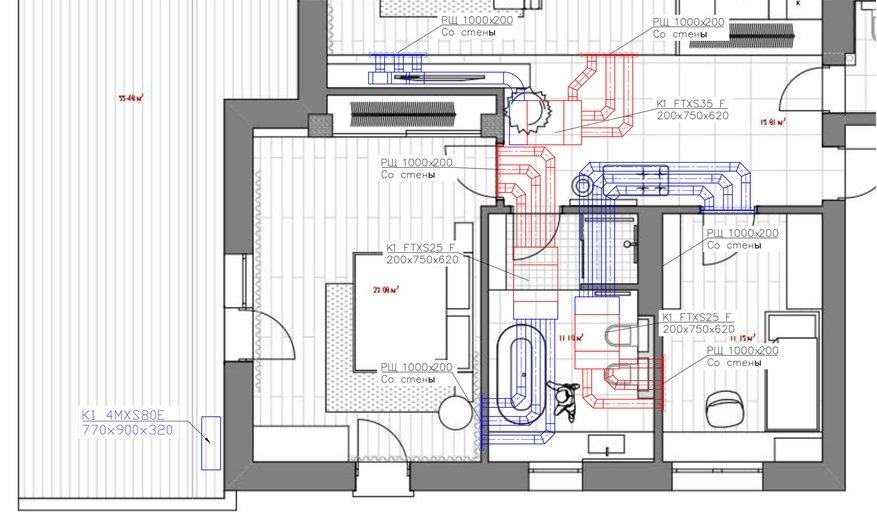 Кондиционирование трехкомнатной квартиры