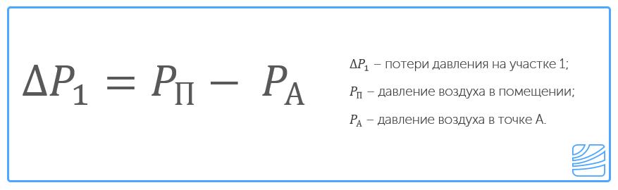 Потерю давления на участке 1 можно определить как разность между давлением воздуха в помещении и в точке А