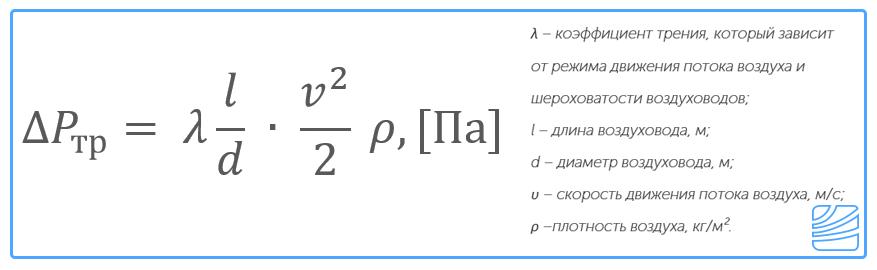 Потери давления на трение определяют по данной формуле