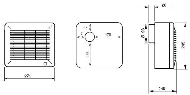 Габаритный чертёж вытяжного вентилятора Soler&Palau EBB-175 S