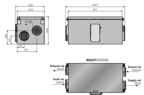 Габаритный чертёж приточно-вытяжной установки Ostberg HERU 50 S